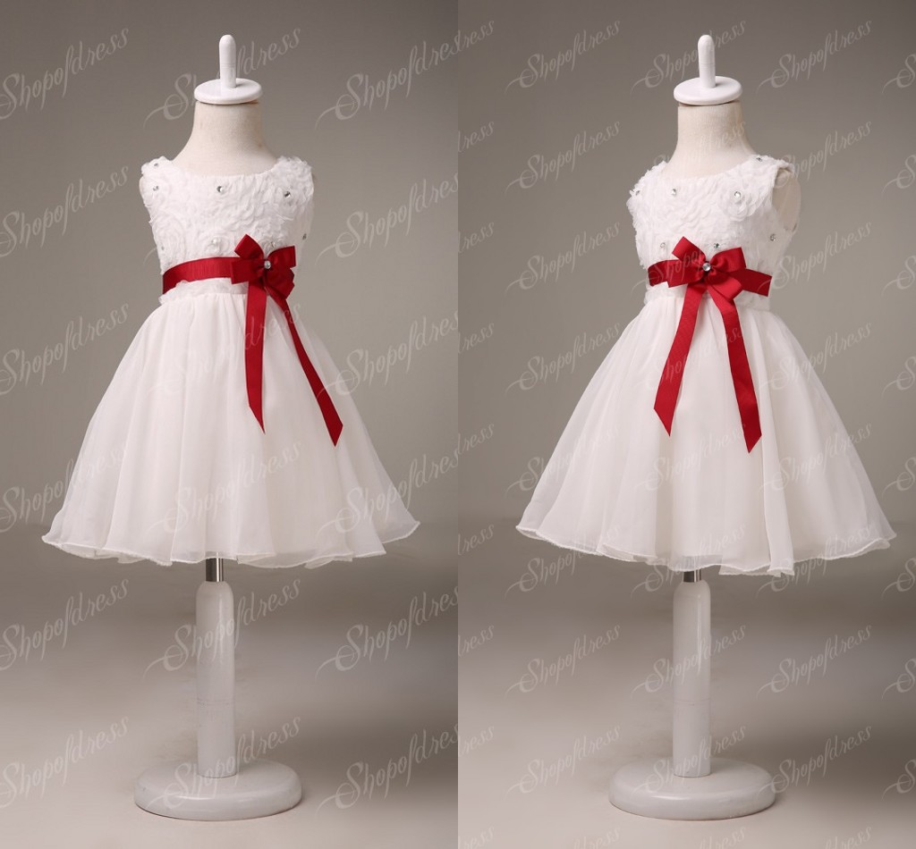 White Flower Pattern Flower Girl Dresses With Red Satin